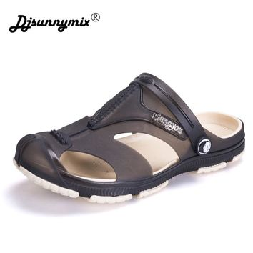 DJSUNNYMIX Men Sandals Jelly Shoes Garden Summer Beach Breathable Casual Shoes Men Flats Slip on Slippers Plus Size 40-45