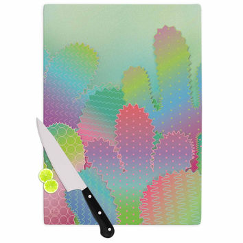 """Graphic Tabby """"Colorful Cacti Garden"""" Pastel Nature Cutting Board"""