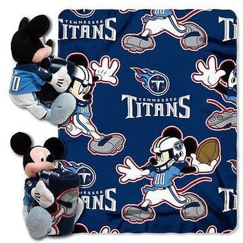 "TENNESSEE TITANS 40""X50"" DISNEY MICKEY MOUSE HUGGER PILLOW & THROW BLANKET SET"