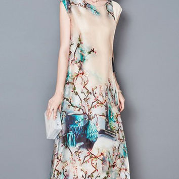 Ethnic Print Fake Twinset Sleeveless Dress