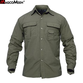 MAGCOMSEN Men Shirt Summer Quick Drying Sleeves Detachable Shirts Military Army Tactical Shirts Breathable Workout Wear SMMD-01