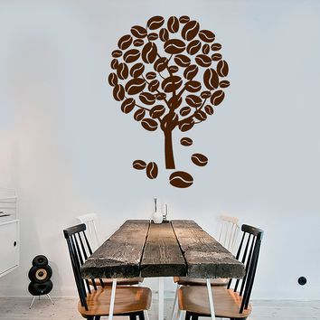 Vinyl Wall Decal Coffee Tree Nature Kitchen Decoration Stickers Unique Gift (1637ig)
