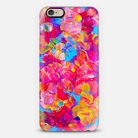 FLORAL FANTASY - Bold Abstract Flowers Acrylic Textural Painting Neon Hot Pink Turquoise Garden Bouquet Girlie Sweet Lovely Feminine Art Painting iPhone 6 case by Ebi Emporium | Casetify