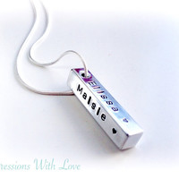 personalised necklace - family names pendant - hand stamped jewellery - aluminium bar drop pendant - 4 sided bar - mothers / mum necklace