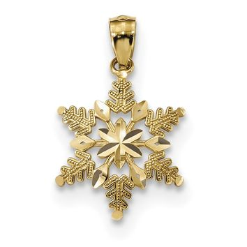 14k Yellow Gold Diam.-Cut Polished Snowflake Pendant