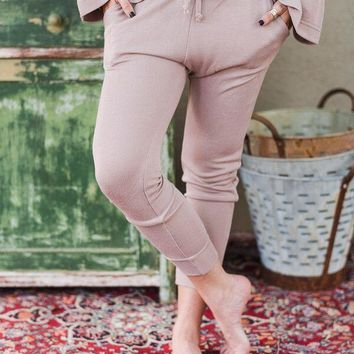 Cozy Knit Joggers - Pink