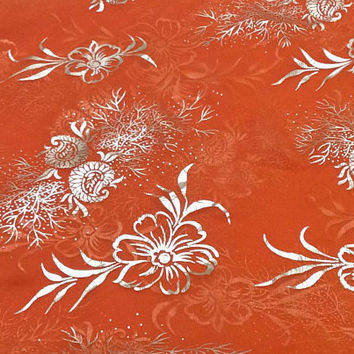 Orange silk scarf, Holiday Gifts Silk scarf, Christmas party Dinner party cover up, Silver Floral Scarf, Sister in law Birthday Gift
