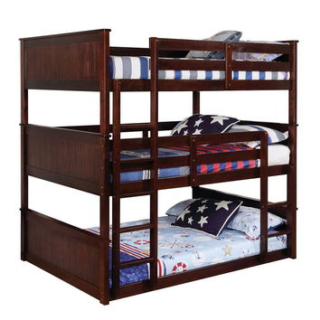 Therese collection triple full bed full over full over full espresso finish wood bunk bed