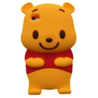 Apple iPhone 4G Winnie The Pooh Bear with 3D Home Press Exchange Soft Rubber Case/Cover/Protector