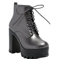 Pewter Lace-Up Platform Ankle Booties