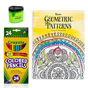 Crayola Colored Pencils (24), Prismacolor Pencil Sharpener, and Adult Coloring Book, Art Bundle of 3 (Geometric Patterns)