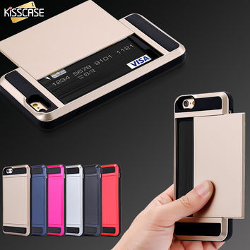 KISSCASE Hybrid Tough Case For iPhone 7 For iPhone 7 Plus TPU Hard PC Slide Storage Card Holder Armor Cover For iPhone 7 Plus