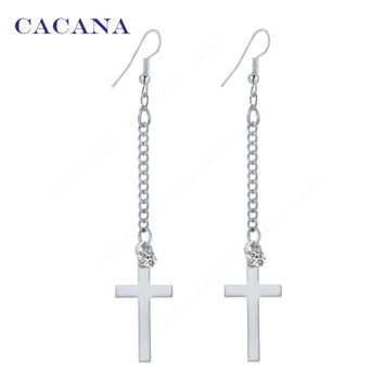 Long Earrings Gold Plated Cross Dangle  Earrings For Women Top Quality With CZ Diamond