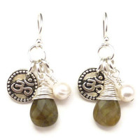 Om Earrings with Wire Wrapped Labradorite and Freshwater Pearl, yoga jewelry, yoga earrings, namaste jewelry