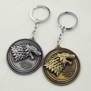HBO Game of Thrones keychain House Stark Winter Is Coming 5.2 cm Metal pendant keyring key chain ring for fans