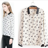 White Floral Ink Print Long-Sleeve Collar Shirt