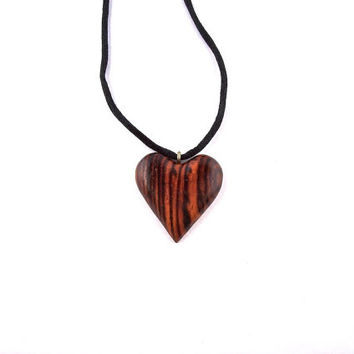 Wooden Heart Pendant Necklace, Wood Pendant, Wooden Jewelry, Hand Carved Pendant, Wood Jewelry, Wood Carved Pendant, Wood Heart Necklace
