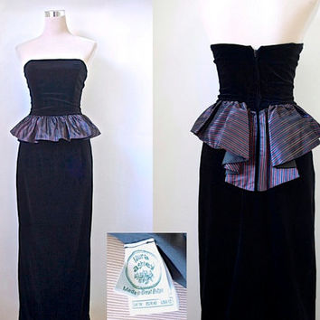 Vintage Laura Ashley Dress - Strapless Column Dress - Black Velvet Dress With Striped Purple Peplum - Maxi Long Cocktail Party Evening Dress