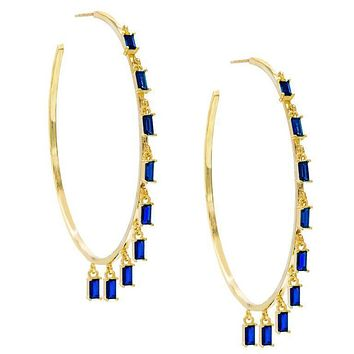 """Pave Mini Baugette Dainty Sapphire 1.4"""" Hoop Earring Embellished with Swarovski Crystals in 18K Gold Plated"""