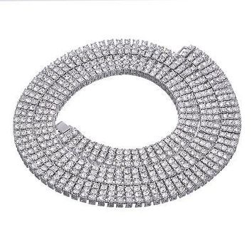 """Jewelry Kay style Men's Fully Iced Out 3 Layer 4 mm Round Stone Silver Tennis Chain Necklace 30"""" S"""