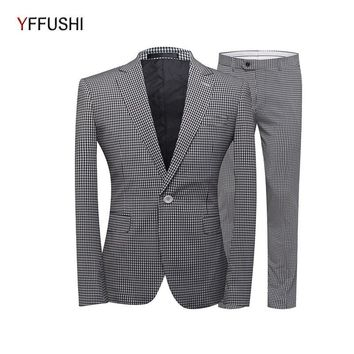 YFFUSHI 2018 Men Suit 2 Pieces Single Breasted One Button Black&White Plaid Blazer Classic Design Casual Style Slim Fit 5XL