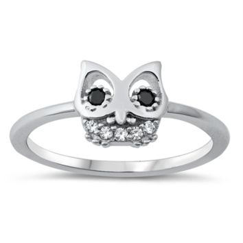 Owl Ladies Ring Size 5-10 Black and White in Sterling Silver and CZ