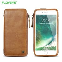 Vintage Leather Wallet Case for iPhone 6 6S 7 Plus