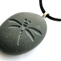 Dragonfly - Tiny PebbleGlyph(c) Pendent - engraved stone necklace