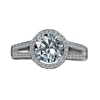 2 CT. (8mm) Intensely Radiant Round Diamond Veneer Split Shank Floating Halo Engagement/Wedding Sterling Silver Ring. 635R4008