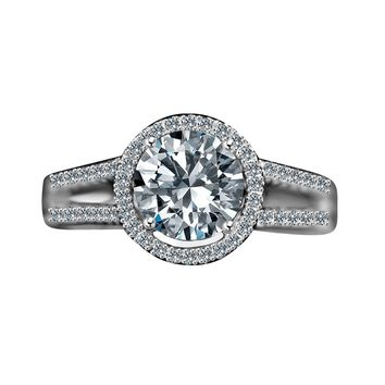 Radiant Round 2 CT. Split Shank Paved Floating Halo Simulated Diamond - Diamond Veneer Engagement/Wedding Sterling Silver Ring 635R4008