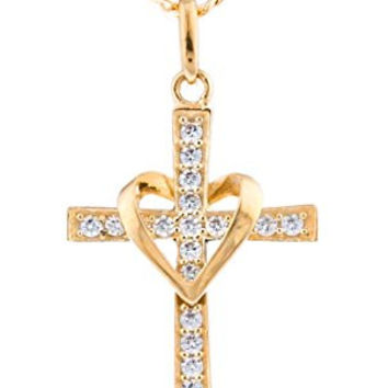 10k Yellow Gold Heart & Cross Pendant with an 18 Inch Gold Overlay Figaro Necklace