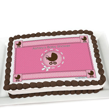 Girl Baby Carriage - Personalized Baby Shower Cake Topper