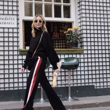 ZARA BLACK TROUSERS WITH RED AND WHITE STRIPE SIZE XS_S_M_L  REF.7994/778