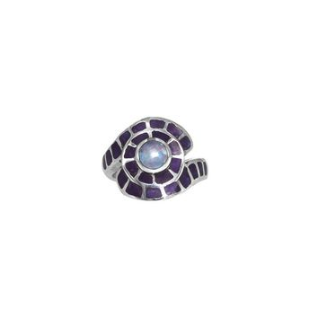 Australian Opal & South African Sugilite Inlay Sterling Silver Ring - Size 5.5