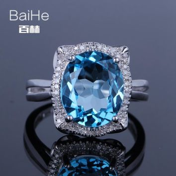 BAIHE Sterling Silver 925 5.35CT Certified Flawless Oval cut 100% Genuine Blue Topaz Engagement Women Trendy Fine Jewelry Ring