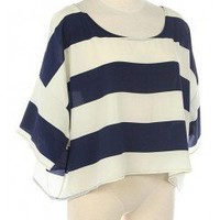 STRIPE PRINT SCOOP NECK CROP TOP