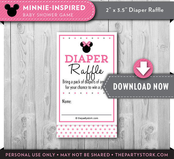 Minnie Mouse Baby Shower Diaper Raffle From Thepartystork On