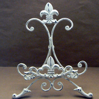 Fleur de lis Ornate Decorative Cast Iron Off White Cream Distressed Easel Book Art Picture Tablet Holder Stand FDL French Paris Shabby Chic