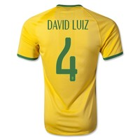 Brazil 2014 DAVID LUIZ Authentic Home Soccer Jersey - WorldSoccerShop.com