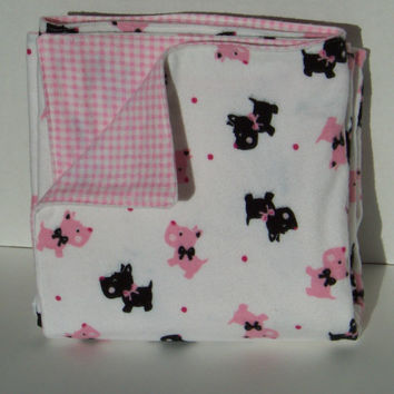 Flannel Baby Receiving Blanket, Double sided, Oversized, Baby Girl Shower Gift, Toddler Stroller Blanket, Christmas Gift, Pink Plaid, Dogs