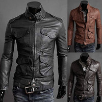 Mens Solid Color Fashion Slim Leather Jacket