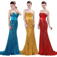 Free Shipping GK Stock Strapless Sequins Full Length Bandage Evening Prom Party Dress 2013 US 2~16 CL4409
