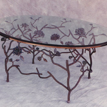 Hand Forged Steel Rose Coffee Table Gracefully Vining Textured Stalks, Bringing the Magic of the Garden to Spark Imagination and Inspiration