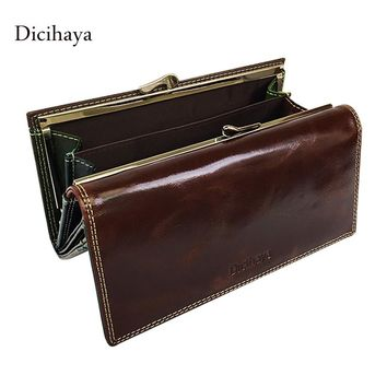 Dicihaya Wax Oil Leather Women Wallet Color Leather Lining Purse Brand Design Clutch Wallet Money Bag Ladies Coins Holder