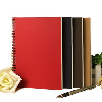 Korean Spiral Notebook A5 Kraft notebook notepad with Craft Paper Cover Dot Grid Blank Line Filler Paper Office School Supplies