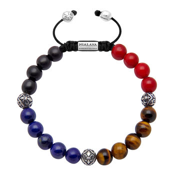 Men's Beaded Bracelet with Ebony, Blue Lapis, Tiger Eye, Red Jade and Indian Silver