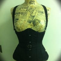Heavy cotton drill military belted steel boned under bust corset with fan lacing and braces