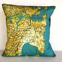 Pillow cover SYDNEY- organic cotton cushion cover, map cushion, pillow, 16 inch