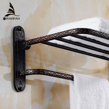 Shipping Solid Brass Vintage Style Bathroom Towel Rack Towel Shelf Holder Carved Pattern Wall-Mount Fe-8701