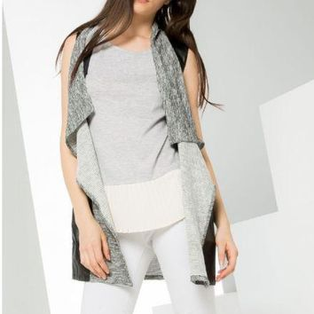 Long Knit Vest With Faux Leather